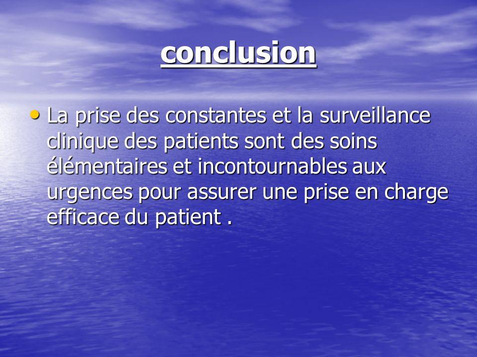 conclusion La prise des constantes et la surveillance clinique des patients sont des soins élémentaires et incontournables aux urgences pour assurer u