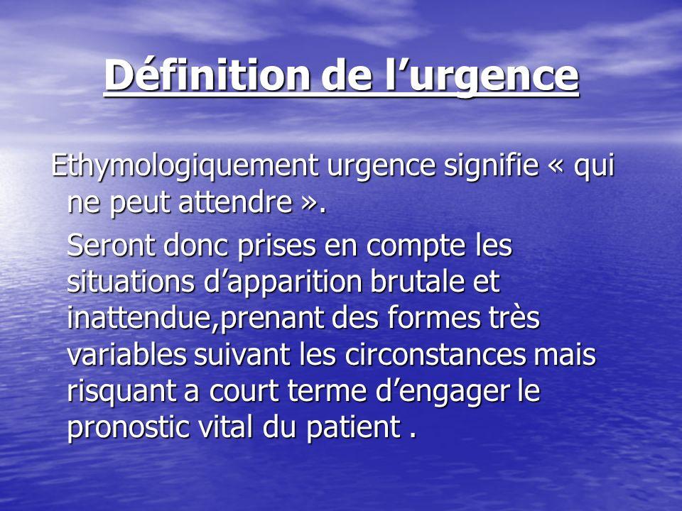 Définition de lurgence Ethymologiquement urgence signifie « qui ne peut attendre ». Ethymologiquement urgence signifie « qui ne peut attendre ». Seron