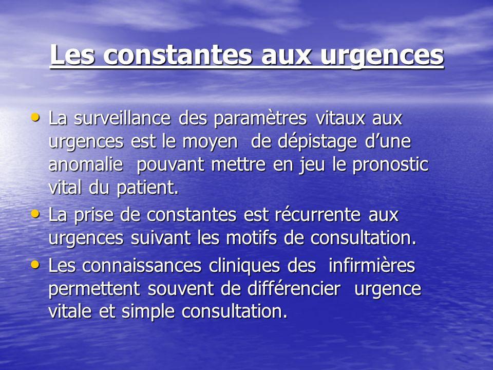 Les constantes aux urgences La surveillance des paramètres vitaux aux urgences est le moyen de dépistage dune anomalie pouvant mettre en jeu le pronos