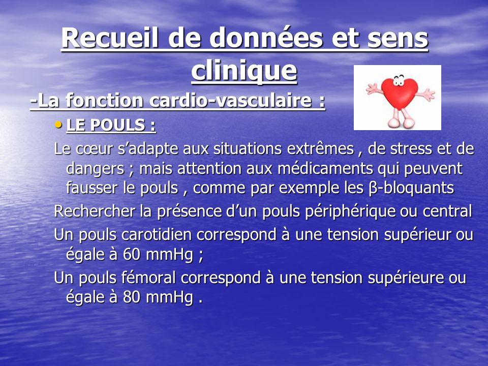 Recueil de données et sens clinique -La fonction cardio-vasculaire : LE POULS : LE POULS : Le cœur sadapte aux situations extrêmes, de stress et de da