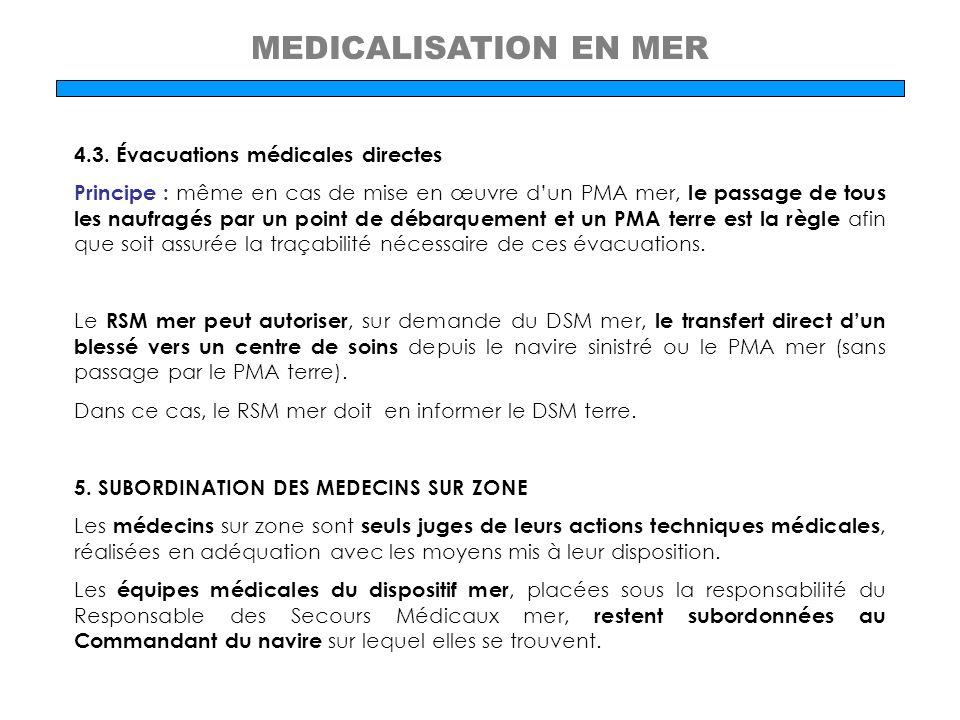 MEDICALISATION EN MER 4.3. Évacuations médicales directes Principe : même en cas de mise en œuvre dun PMA mer, le passage de tous les naufragés par un