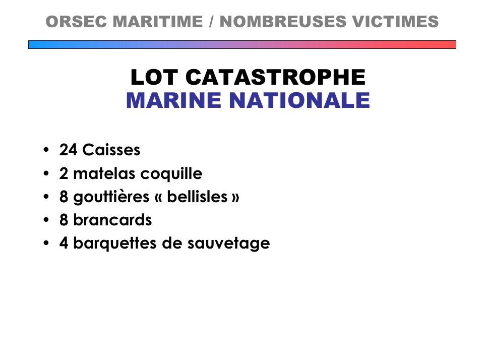 LOT CATASTROPHE MARINE NATIONALE 24 Caisses 2 matelas coquille 8 gouttières « bellisles » 8 brancards 4 barquettes de sauvetage ORSEC MARITIME / NOMBR