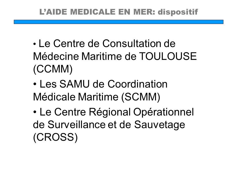 LAIDE MEDICALE EN MER: dispositif Le Centre de Consultation de Médecine Maritime de TOULOUSE (CCMM) Les SAMU de Coordination Médicale Maritime (SCMM)