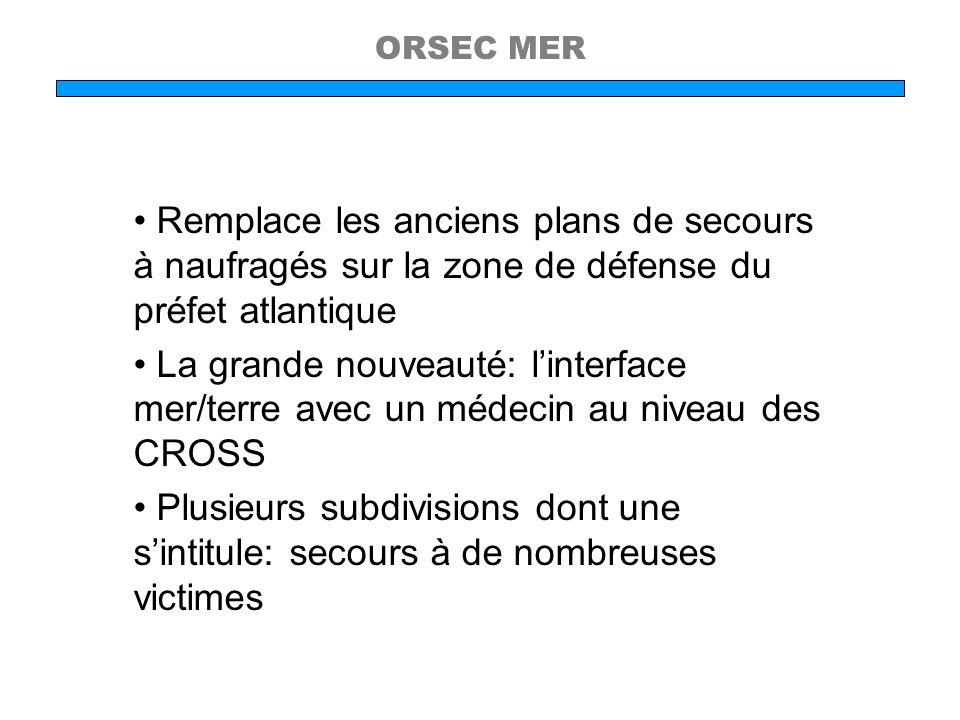 ORSEC MER Remplace les anciens plans de secours à naufragés sur la zone de défense du préfet atlantique La grande nouveauté: linterface mer/terre avec