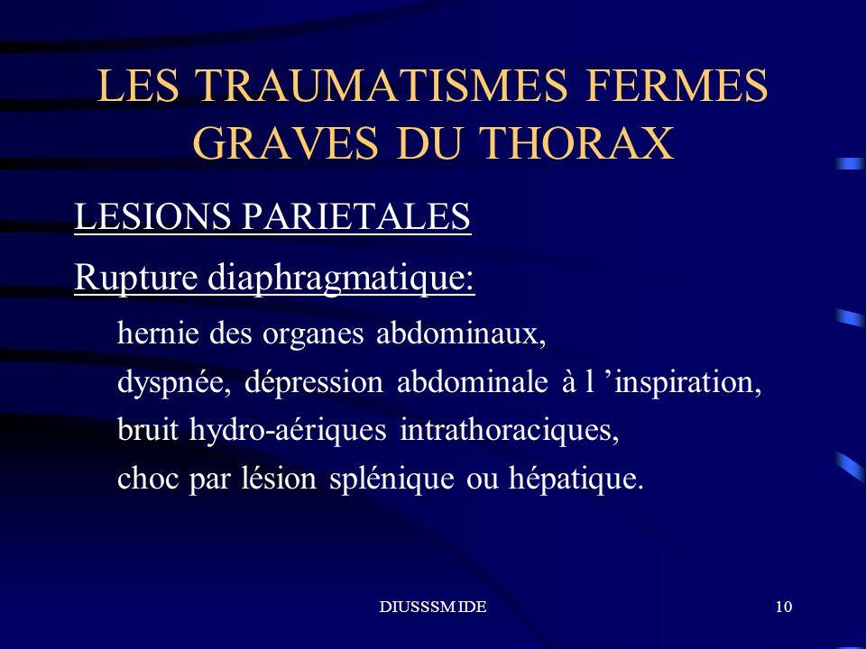 DIUSSSM IDE10 LES TRAUMATISMES FERMES GRAVES DU THORAX LESIONS PARIETALES Rupture diaphragmatique: hernie des organes abdominaux, dyspnée, dépression