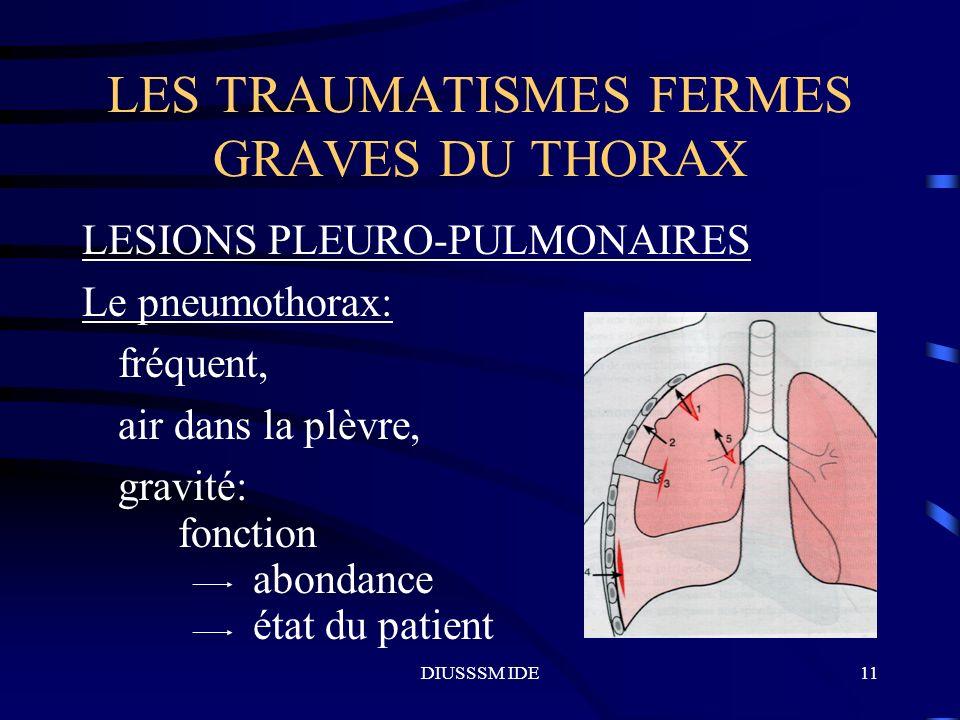 DIUSSSM IDE11 LES TRAUMATISMES FERMES GRAVES DU THORAX LESIONS PLEURO-PULMONAIRES Le pneumothorax: fréquent, air dans la plèvre, gravité: fonction abo