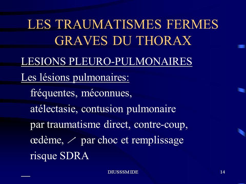 DIUSSSM IDE14 LES TRAUMATISMES FERMES GRAVES DU THORAX LESIONS PLEURO-PULMONAIRES Les lésions pulmonaires: fréquentes, méconnues, atélectasie, contusi