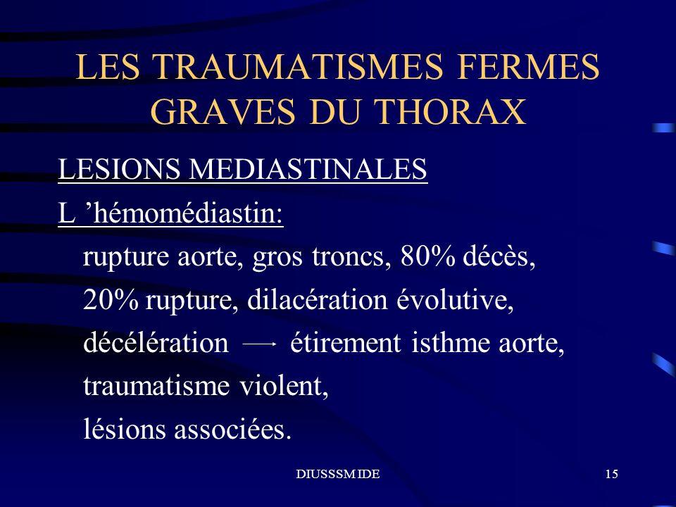DIUSSSM IDE15 LES TRAUMATISMES FERMES GRAVES DU THORAX LESIONS MEDIASTINALES L hémomédiastin: rupture aorte, gros troncs, 80% décès, 20% rupture, dila