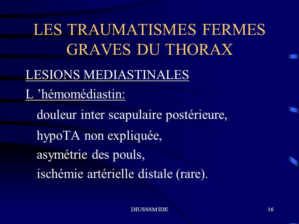 DIUSSSM IDE16 LES TRAUMATISMES FERMES GRAVES DU THORAX LESIONS MEDIASTINALES L hémomédiastin: douleur inter scapulaire postérieure, hypoTA non expliqu