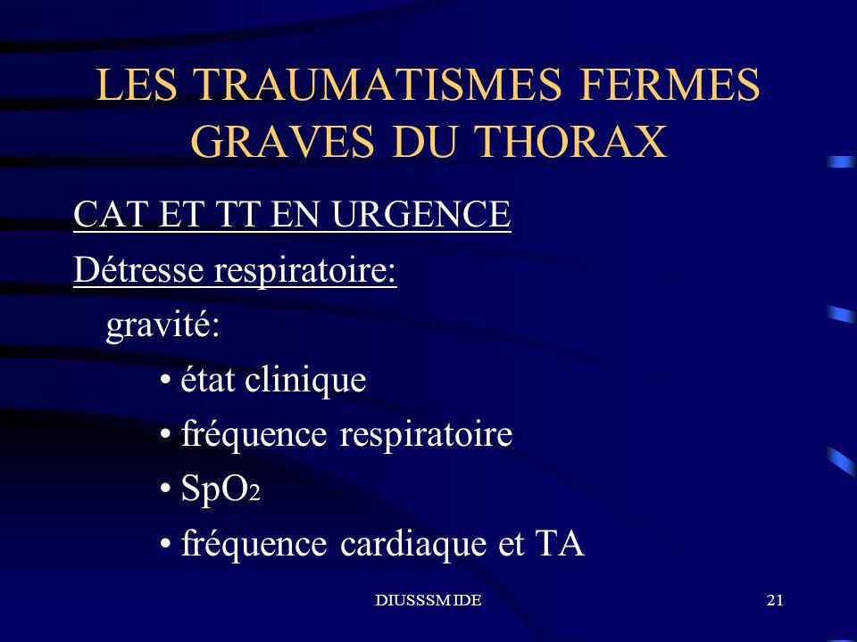 DIUSSSM IDE21 LES TRAUMATISMES FERMES GRAVES DU THORAX CAT ET TT EN URGENCE Détresse respiratoire: gravité: état clinique fréquence respiratoire SpO 2