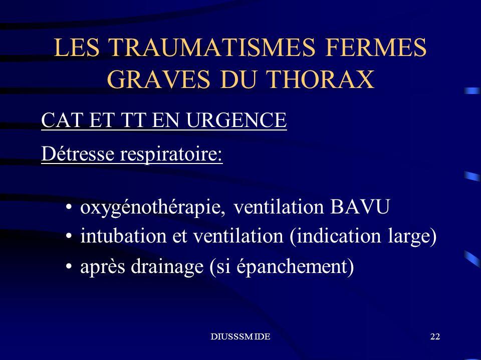 DIUSSSM IDE22 LES TRAUMATISMES FERMES GRAVES DU THORAX CAT ET TT EN URGENCE Détresse respiratoire: oxygénothérapie, ventilation BAVU intubation et ven