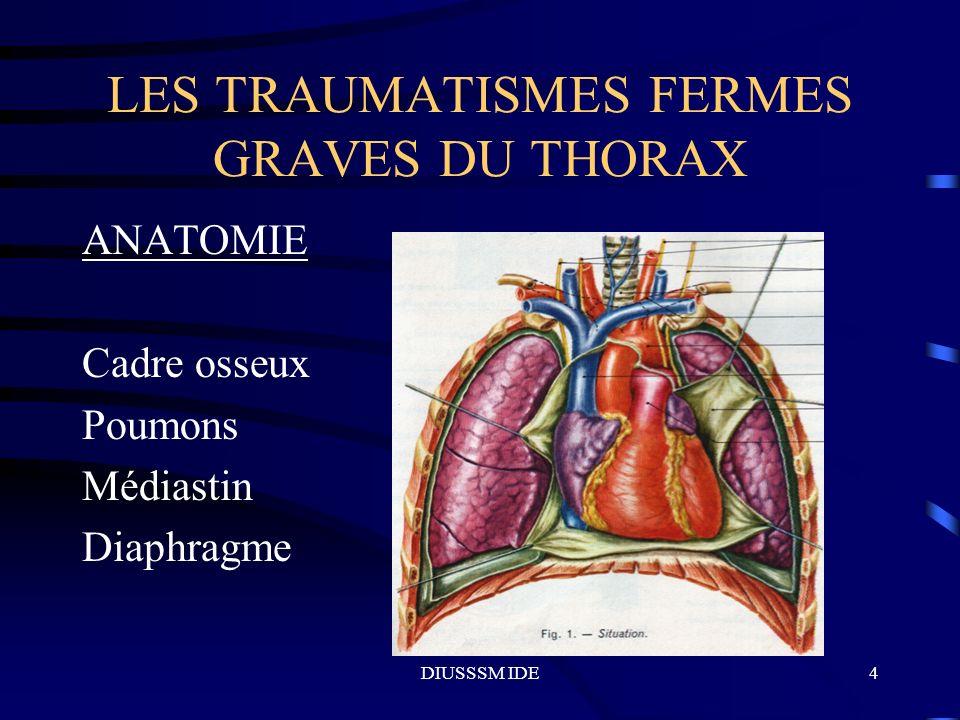 DIUSSSM IDE15 LES TRAUMATISMES FERMES GRAVES DU THORAX LESIONS MEDIASTINALES L hémomédiastin: rupture aorte, gros troncs, 80% décès, 20% rupture, dilacération évolutive, décélération étirement isthme aorte, traumatisme violent, lésions associées.