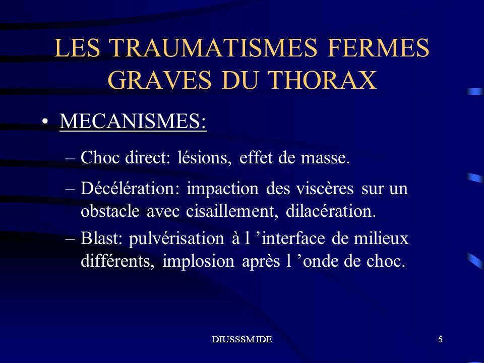 DIUSSSM IDE5 LES TRAUMATISMES FERMES GRAVES DU THORAX MECANISMES: –Choc direct: lésions, effet de masse. –Décélération: impaction des viscères sur un