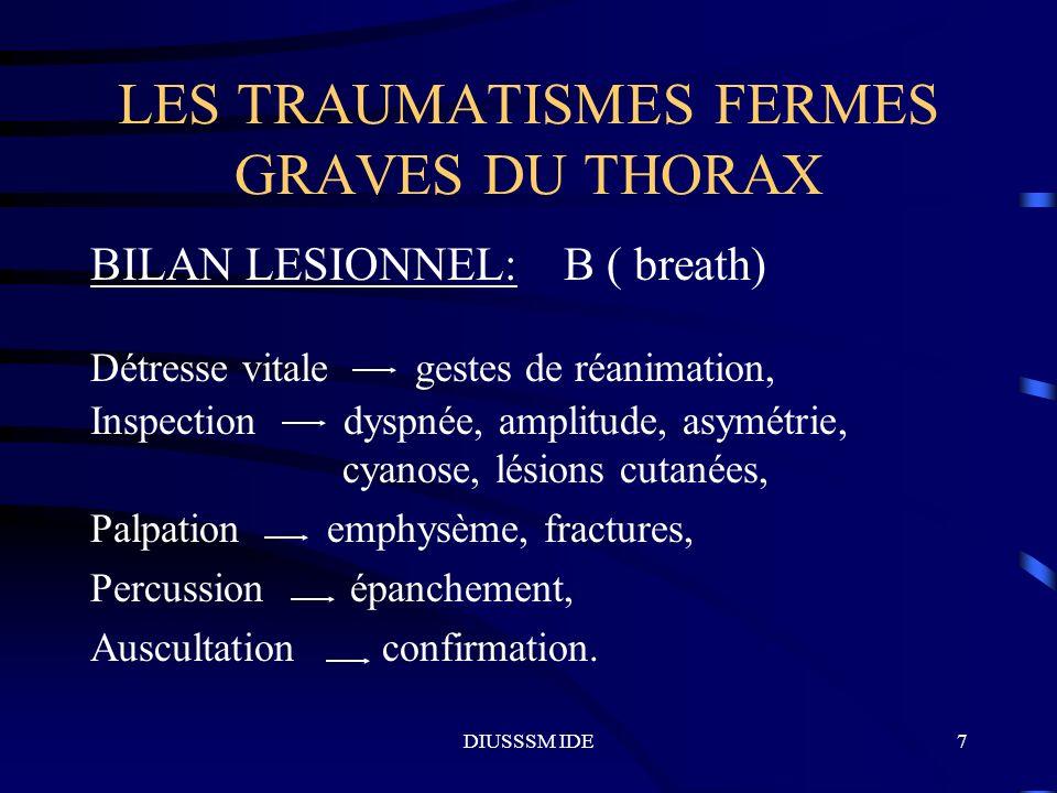 DIUSSSM IDE18 LES TRAUMATISMES FERMES GRAVES DU THORAX LESIONS MEDIASTINALES Lésions cardio-péricardiques: douleur, hypo TA persistante, état de choc, rechercher turgescence jugulaire contusion myocardique ++