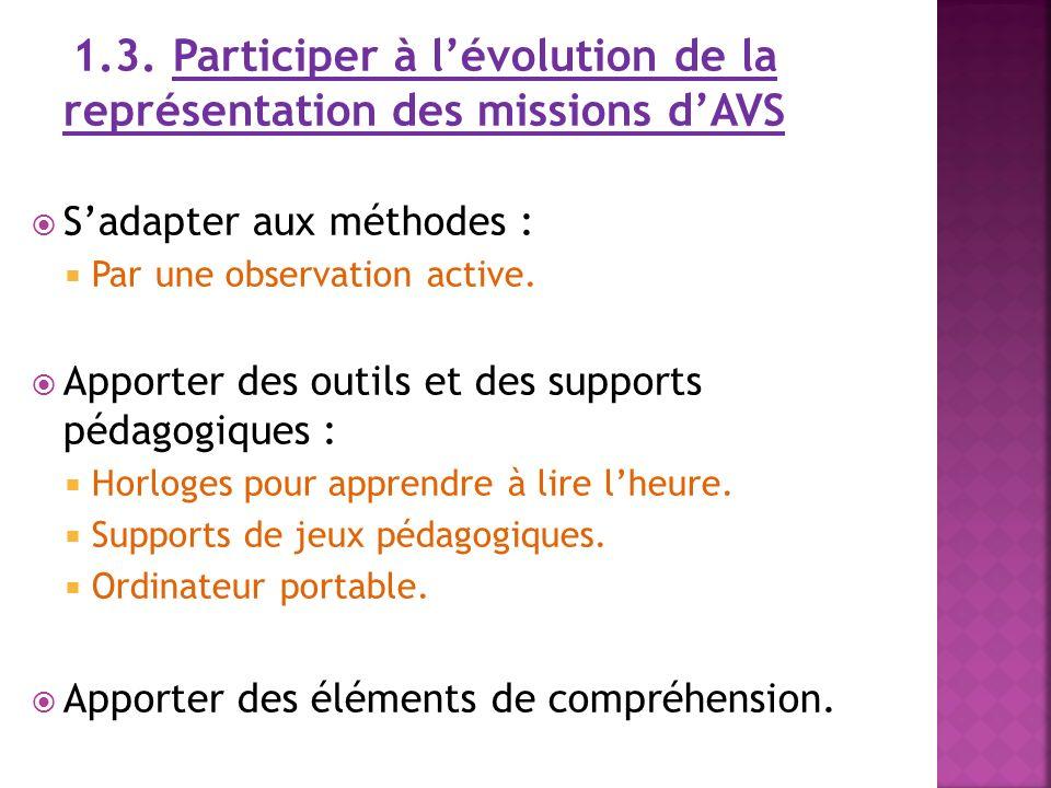 1.3. Participer à lévolution de la représentation des missions dAVS Sadapter aux méthodes : Par une observation active. Apporter des outils et des sup