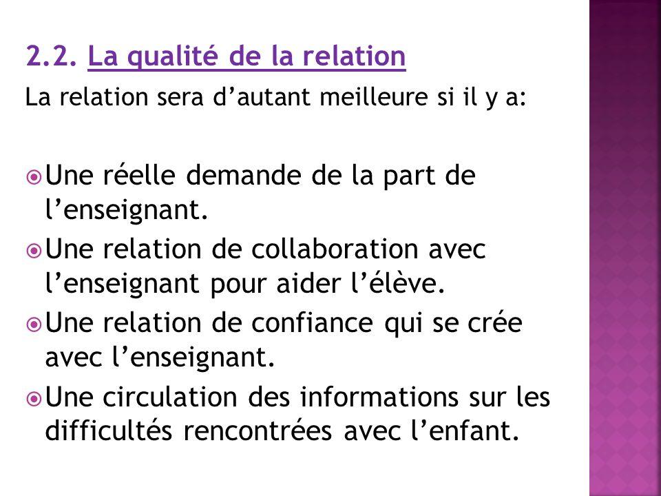 2.2. La qualité de la relation La relation sera dautant meilleure si il y a: Une réelle demande de la part de lenseignant. Une relation de collaborati