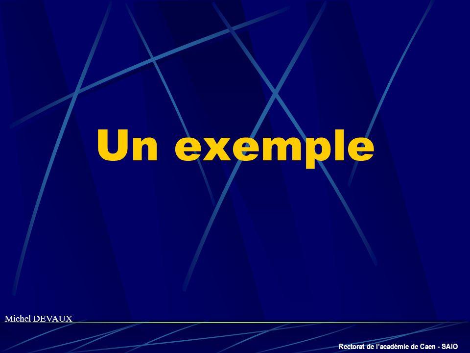 Rectorat de lacadémie de Caen - SAIO Un exemple Michel DEVAUX