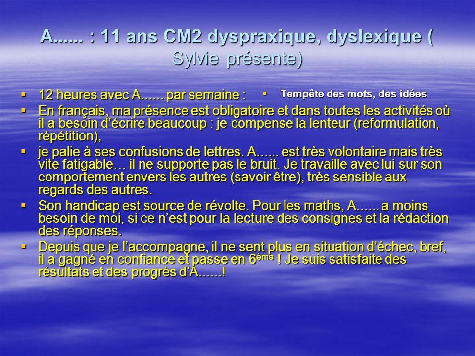 A...... : 11 ans CM2 dyspraxique, dyslexique ( Sylvie présente) 12 heures avec A......