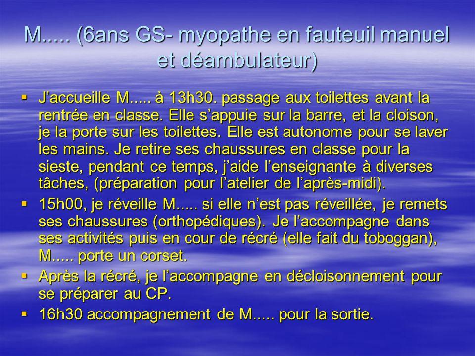 M..... (6ans GS- myopathe en fauteuil manuel et déambulateur) Jaccueille M.....