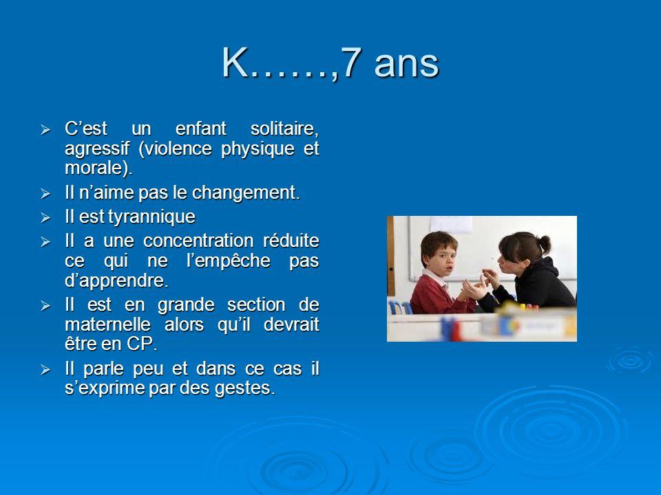 K……,7 ans Cest un enfant solitaire, agressif (violence physique et morale). Cest un enfant solitaire, agressif (violence physique et morale). Il naime