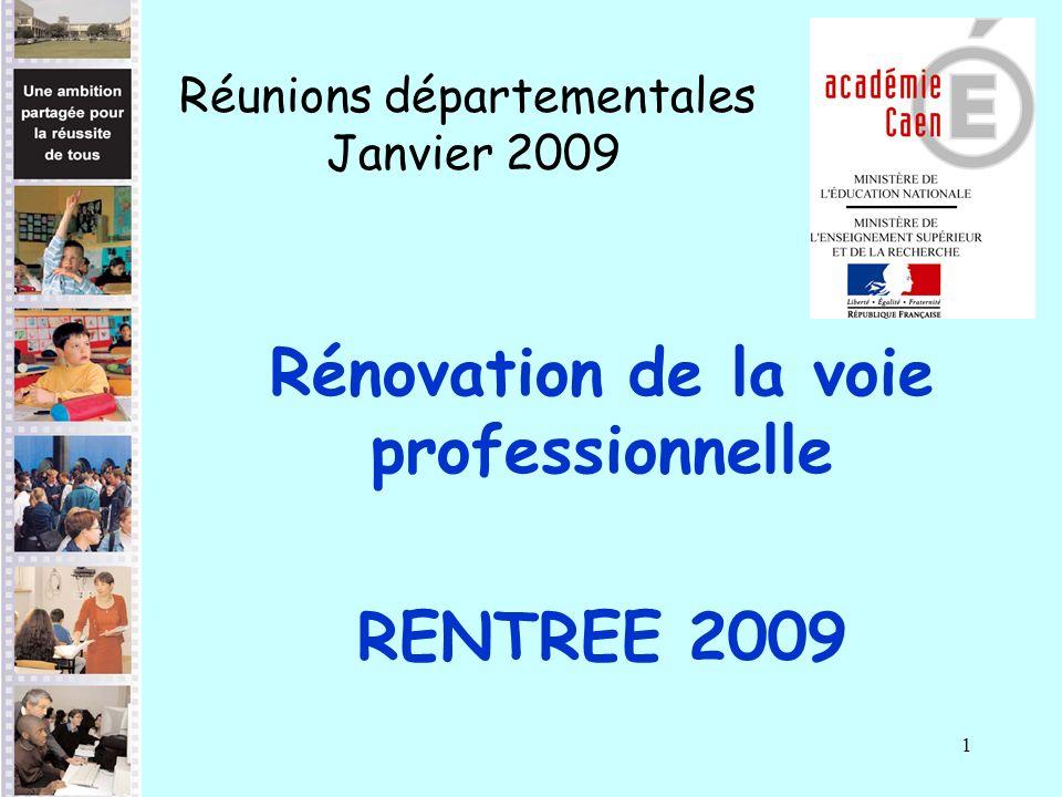 1 Rénovation de la voie professionnelle RENTREE 2009 Réunions départementales Janvier 2009