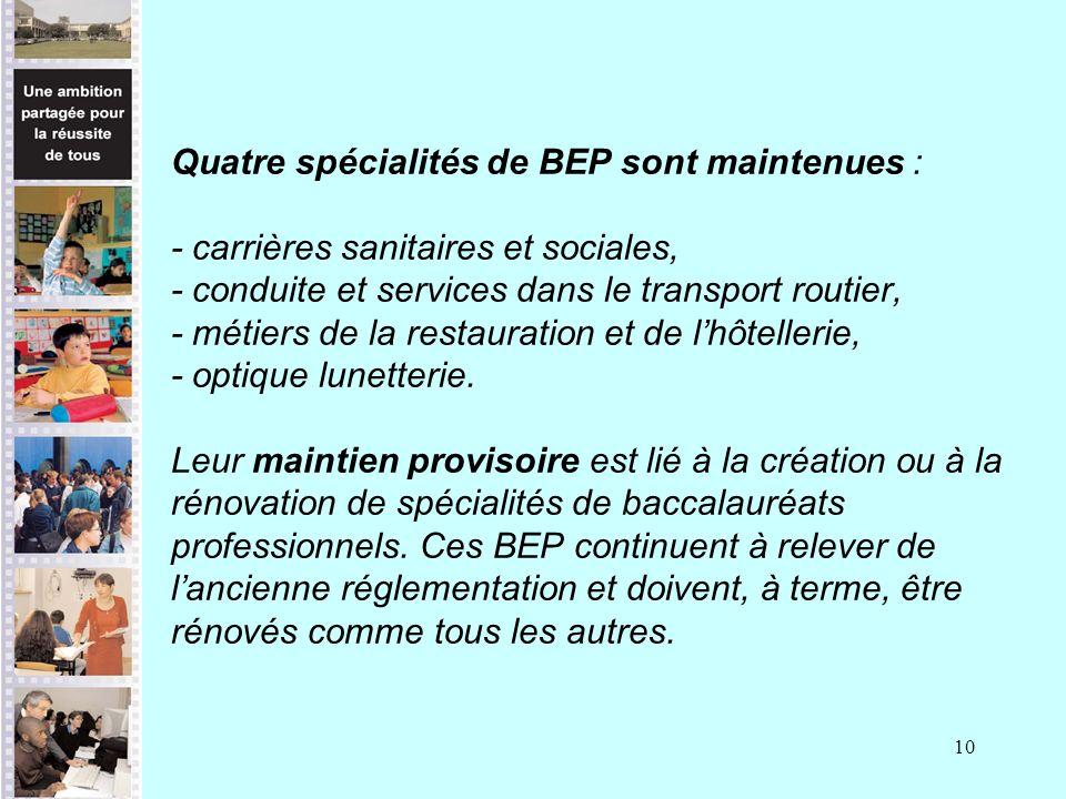 10 Quatre spécialités de BEP sont maintenues : - carrières sanitaires et sociales, - conduite et services dans le transport routier, - métiers de la restauration et de lhôtellerie, - optique lunetterie.
