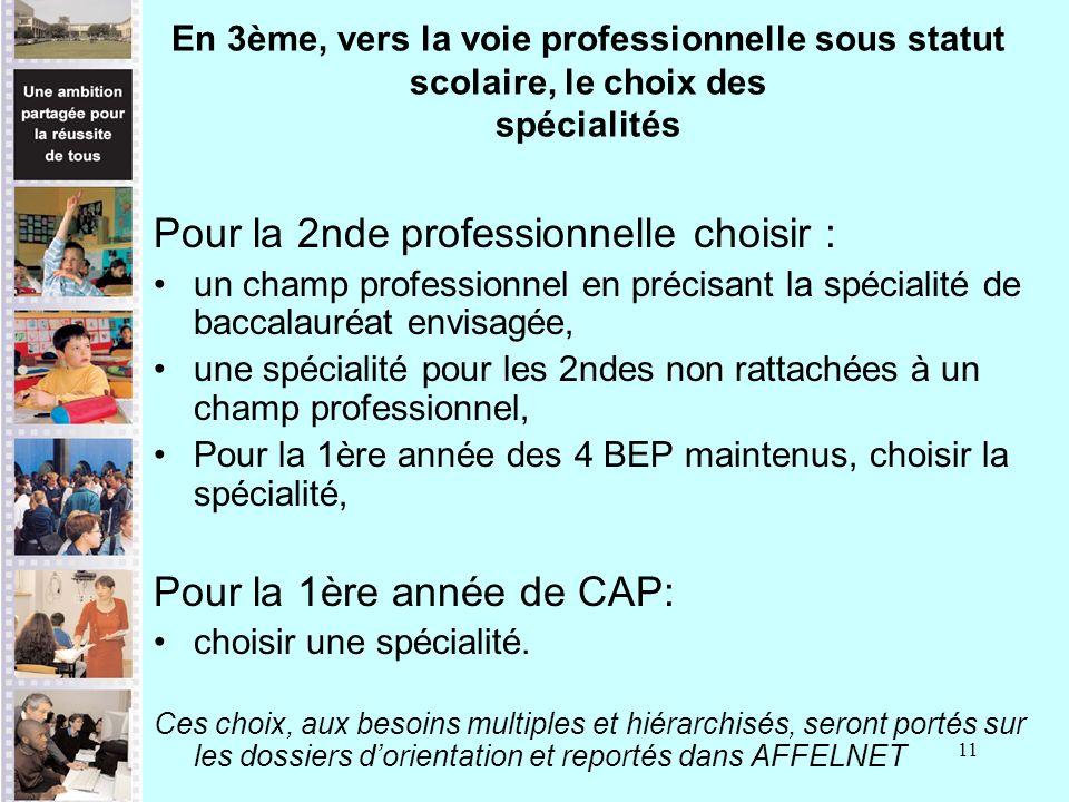 11 En 3ème, vers la voie professionnelle sous statut scolaire, le choix des spécialités Pour la 2nde professionnelle choisir : un champ professionnel en précisant la spécialité de baccalauréat envisagée, une spécialité pour les 2ndes non rattachées à un champ professionnel, Pour la 1ère année des 4 BEP maintenus, choisir la spécialité, Pour la 1ère année de CAP: choisir une spécialité.