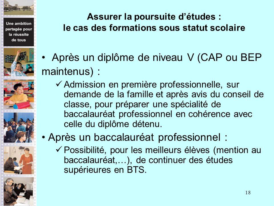 18 Assurer la poursuite détudes : le cas des formations sous statut scolaire Après un diplôme de niveau V (CAP ou BEP maintenus) : Admission en premiè