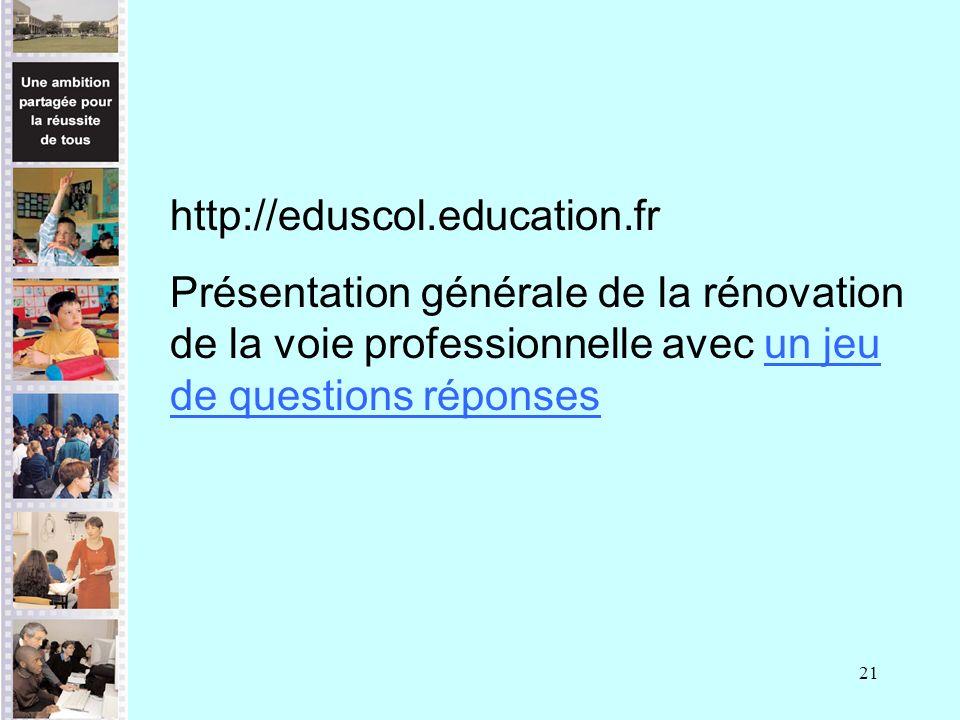 21 http://eduscol.education.fr Présentation générale de la rénovation de la voie professionnelle avec un jeu de questions réponsesun jeu de questions