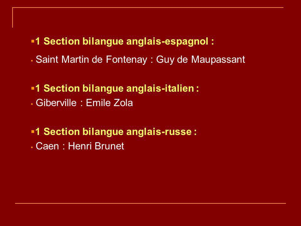 1 Section bilangue anglais-espagnol : Saint Martin de Fontenay : Guy de Maupassant 1 Section bilangue anglais-italien : Giberville : Emile Zola 1 Section bilangue anglais-russe : Caen : Henri Brunet