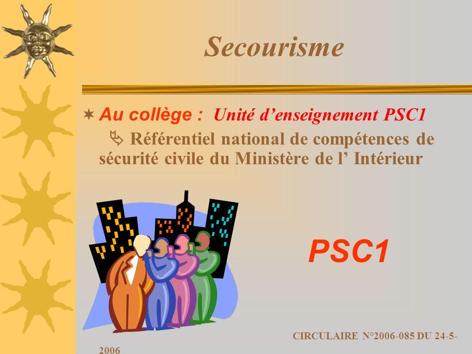 Secourisme Au collège : Unité denseignement PSC1 Référentiel national de compétences de sécurité civile du Ministère de l Intérieur PSC1 CIRCULAIRE N°