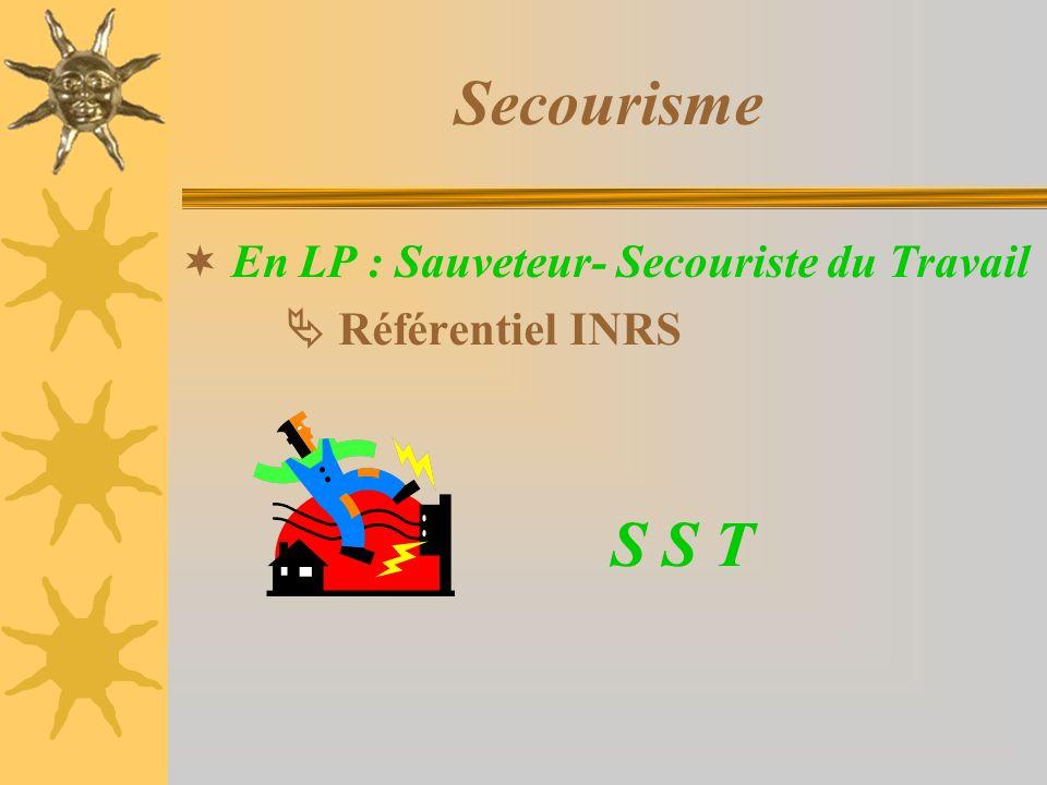 Secourisme En LP : Sauveteur- Secouriste du Travail Référentiel INRS S S T