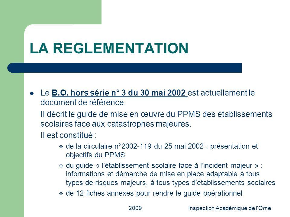 2009Inspection Académique de l'Orne LA REGLEMENTATION Le B.O. hors série n° 3 du 30 mai 2002 est actuellement le document de référence.B.O. hors série