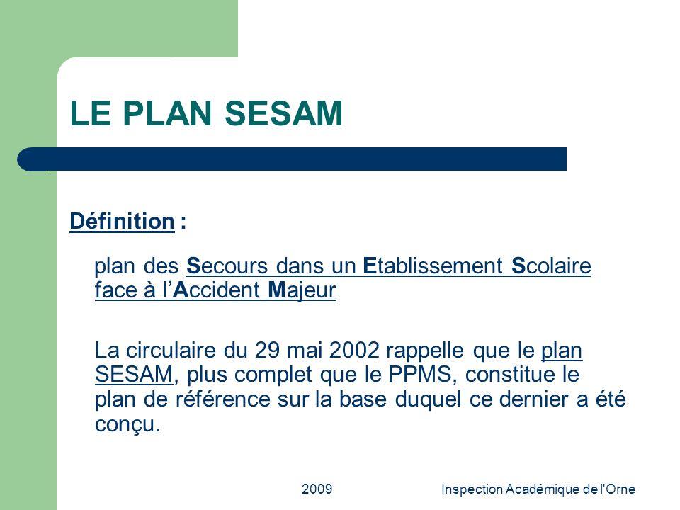 2009Inspection Académique de l'Orne LE PLAN SESAM Définition : plan des Secours dans un Etablissement Scolaire face à lAccident MajeurSecours dans un