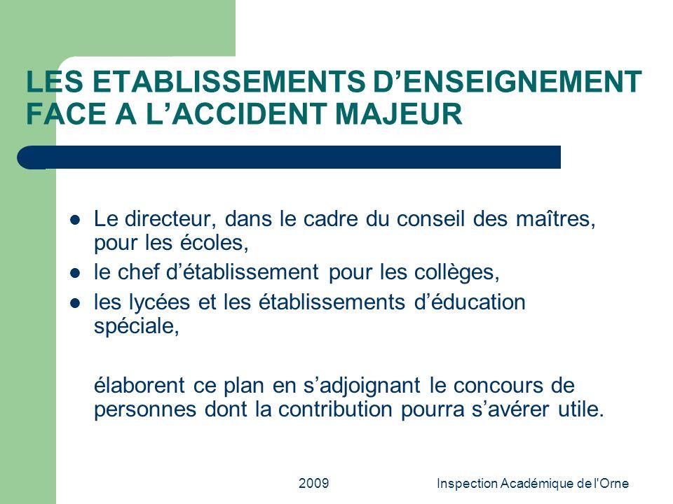 2009Inspection Académique de l'Orne Le directeur, dans le cadre du conseil des maîtres, pour les écoles, le chef détablissement pour les collèges, les