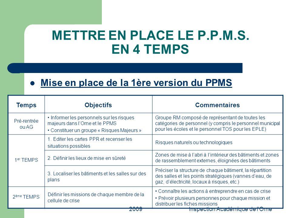 2009Inspection Académique de l'Orne METTRE EN PLACE LE P.P.M.S. EN 4 TEMPS Mise en place de la 1ère version du PPMS TempsObjectifsCommentaires Pré-ren