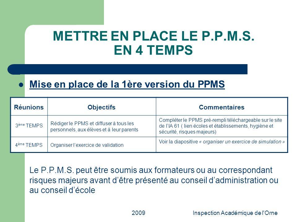 2009Inspection Académique de l'Orne METTRE EN PLACE LE P.P.M.S. EN 4 TEMPS Mise en place de la 1ère version du PPMS Le P.P.M.S. peut être soumis aux f