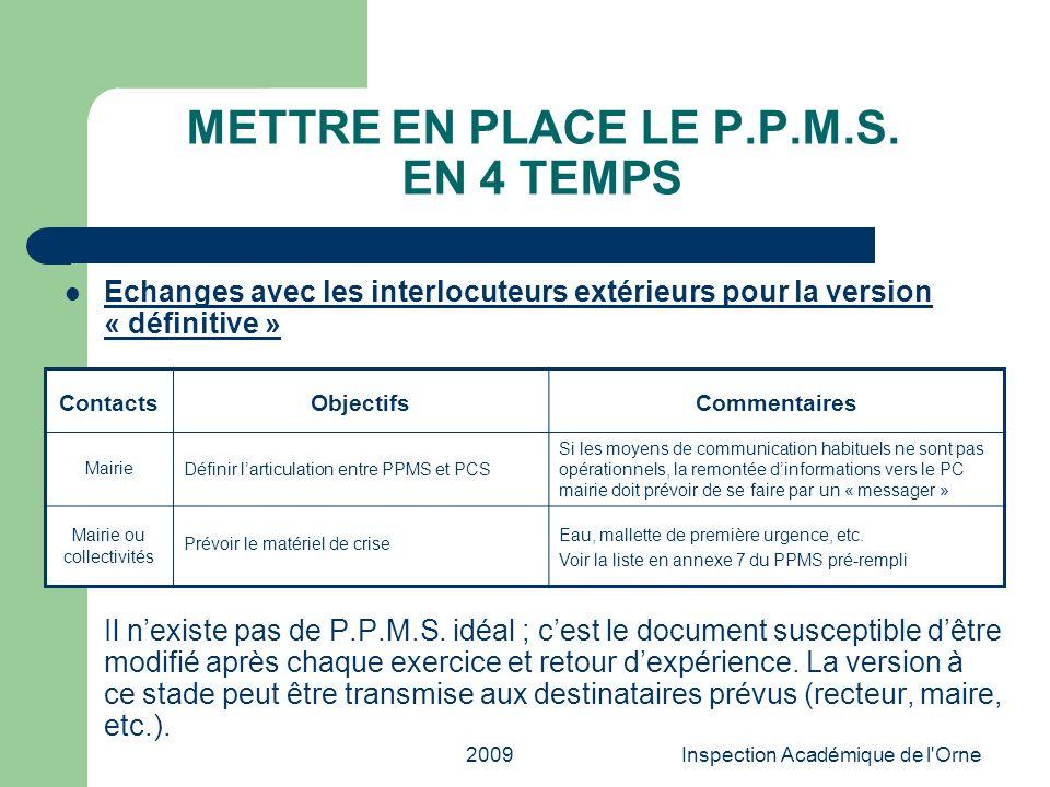 2009Inspection Académique de l'Orne METTRE EN PLACE LE P.P.M.S. EN 4 TEMPS Echanges avec les interlocuteurs extérieurs pour la version « définitive »