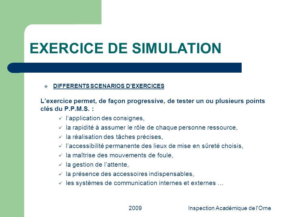 2009Inspection Académique de l'Orne EXERCICE DE SIMULATION DIFFERENTS SCENARIOS DEXERCICES Lexercice permet, de façon progressive, de tester un ou plu