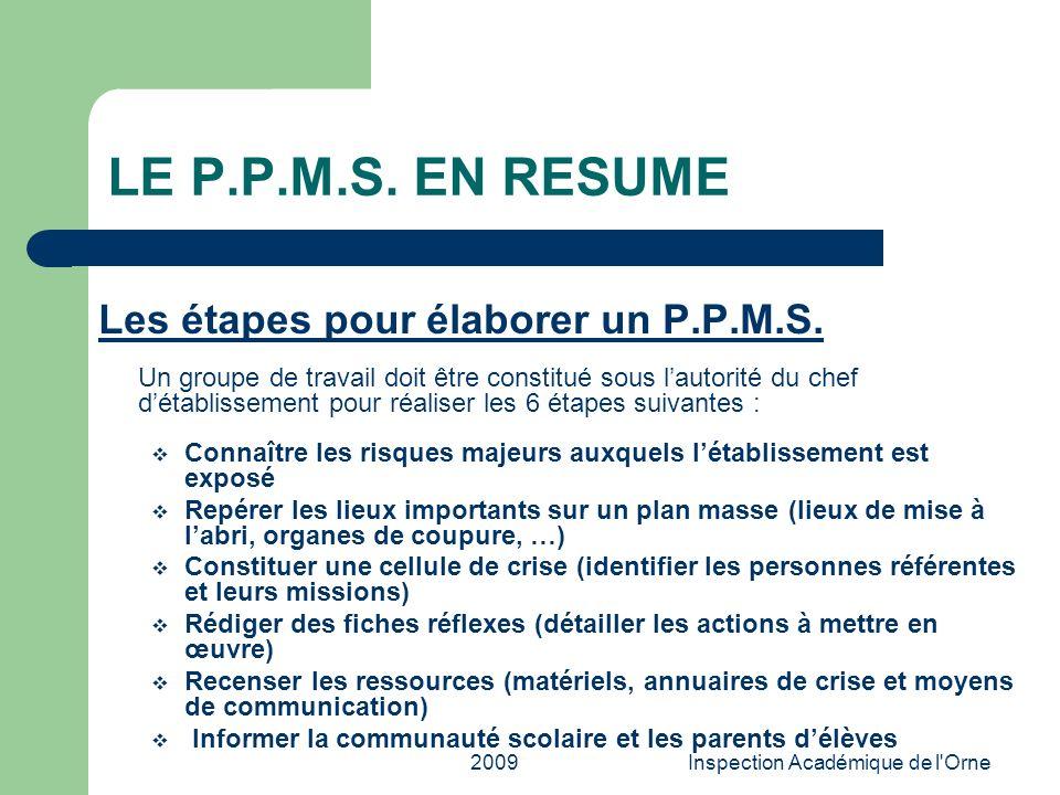 2009Inspection Académique de l'Orne LE P.P.M.S. EN RESUME Les étapes pour élaborer un P.P.M.S. Un groupe de travail doit être constitué sous lautorité