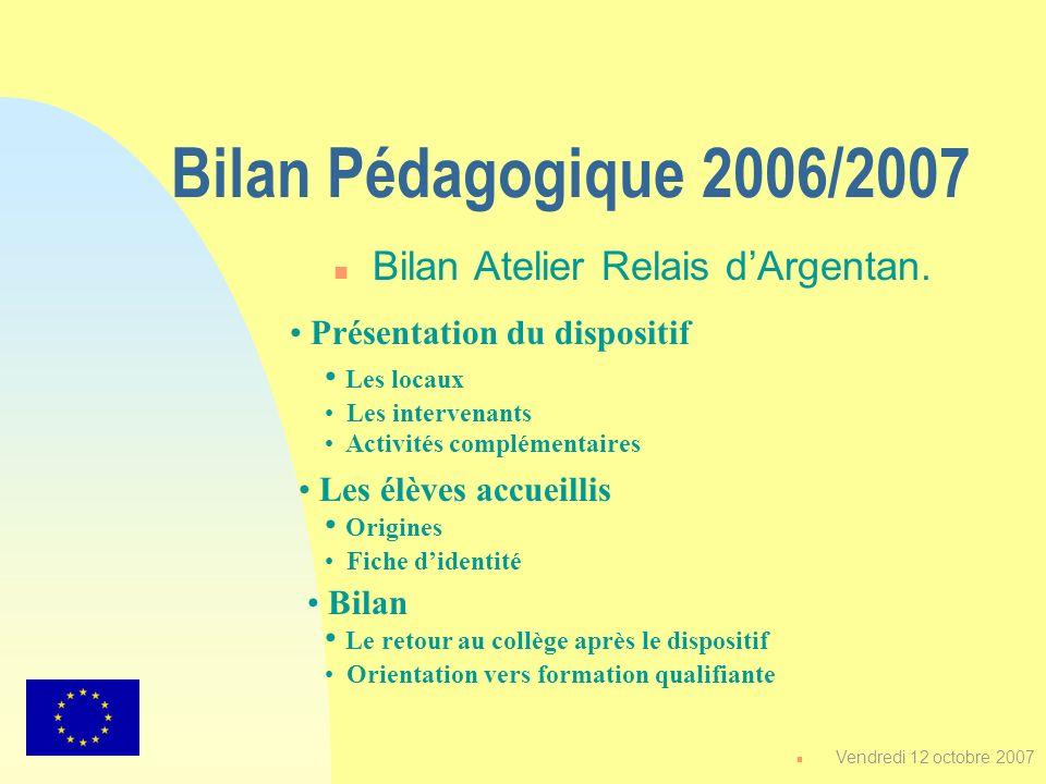 Bilan Pédagogique 2006/2007 n Bilan Atelier Relais dArgentan. Les élèves accueillis Les locaux Les intervenants Activités complémentaires Présentation
