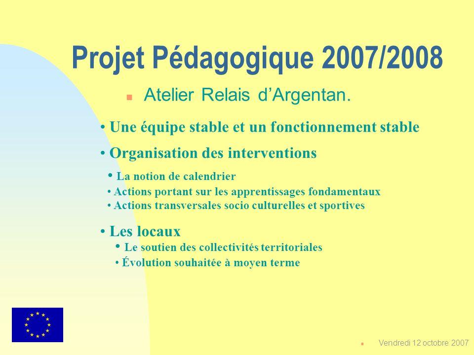 Projet Pédagogique 2007/2008 n Atelier Relais dArgentan. Une équipe stable et un fonctionnement stable Organisation des interventions Les locaux La no
