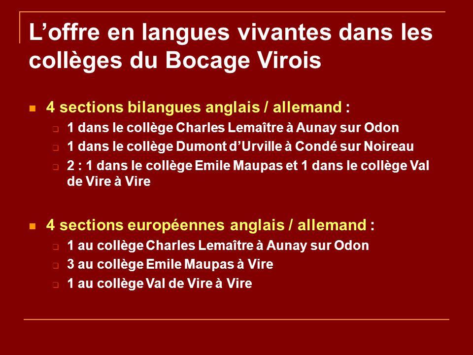 Loffre en langues vivantes dans les collèges du Bocage Virois 4 sections bilangues anglais / allemand : 1 dans le collège Charles Lemaître à Aunay sur