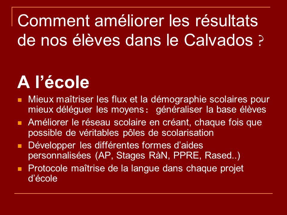 Comment améliorer les résultats de nos élèves dans le Calvados ? A lécole Mieux maîtriser les flux et la démographie scolaires pour mieux déléguer les