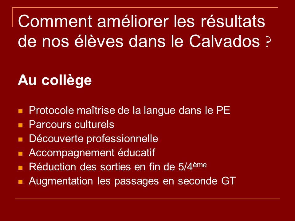 Comment améliorer les résultats de nos élèves dans le Calvados ? Au collège Protocole ma î trise de la langue dans le PE Parcours culturels D é couver