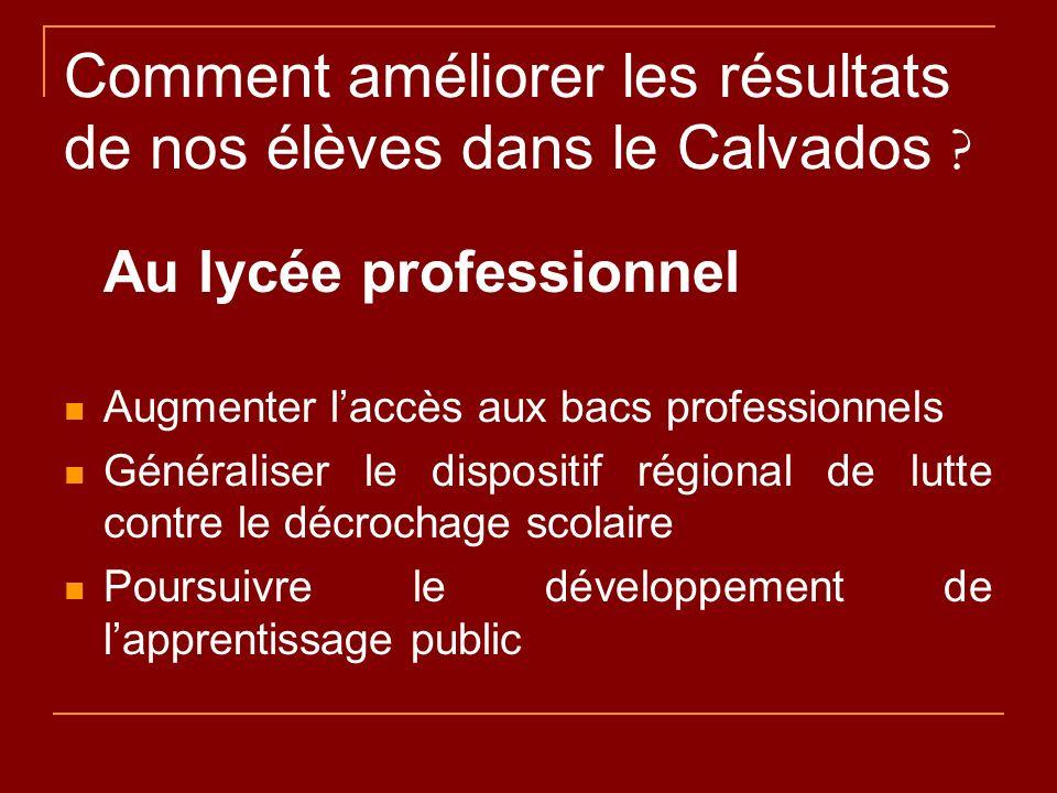 Comment améliorer les résultats de nos élèves dans le Calvados ? Au lycée professionnel Augmenter laccès aux bacs professionnels Généraliser le dispos