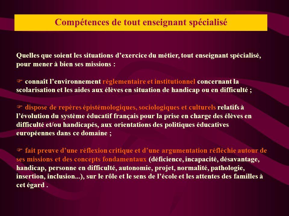 Compétences de tout enseignant spécialisé Quelles que soient les situations dexercice du métier, tout enseignant spécialisé, pour mener à bien ses mis