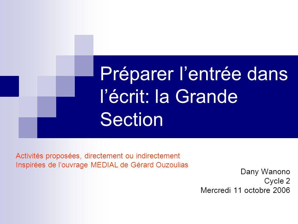 Préparer lentrée dans lécrit: la Grande Section Dany Wanono Cycle 2 Mercredi 11 octobre 2006 Activités proposées, directement ou indirectement Inspiré