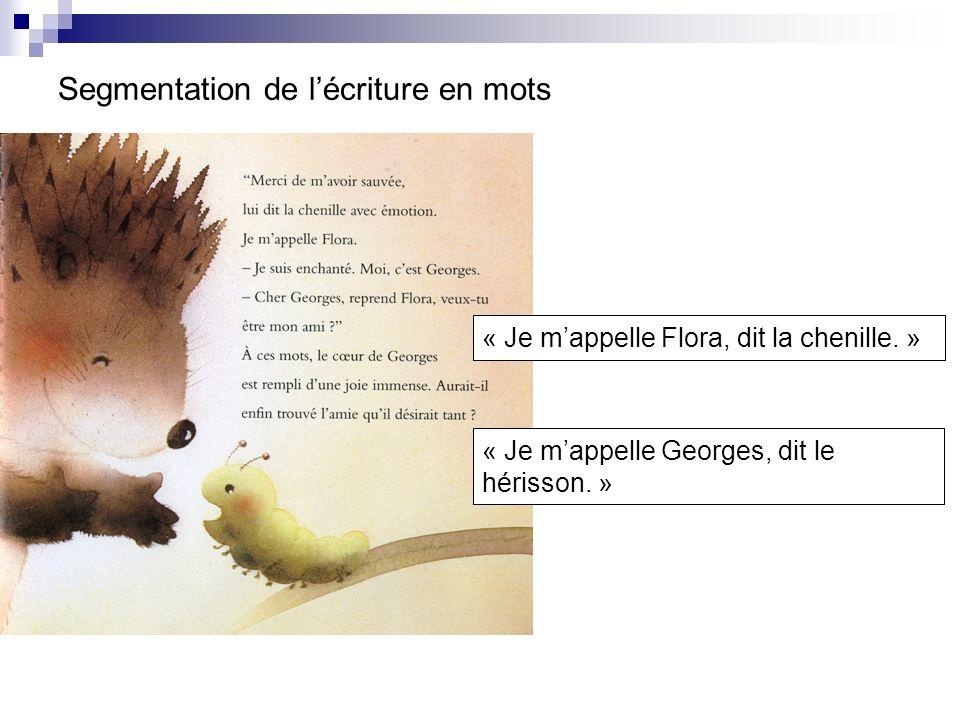 Segmentation de lécriture en mots « Je mappelle Flora, dit la chenille. » « Je mappelle Georges, dit le hérisson. »