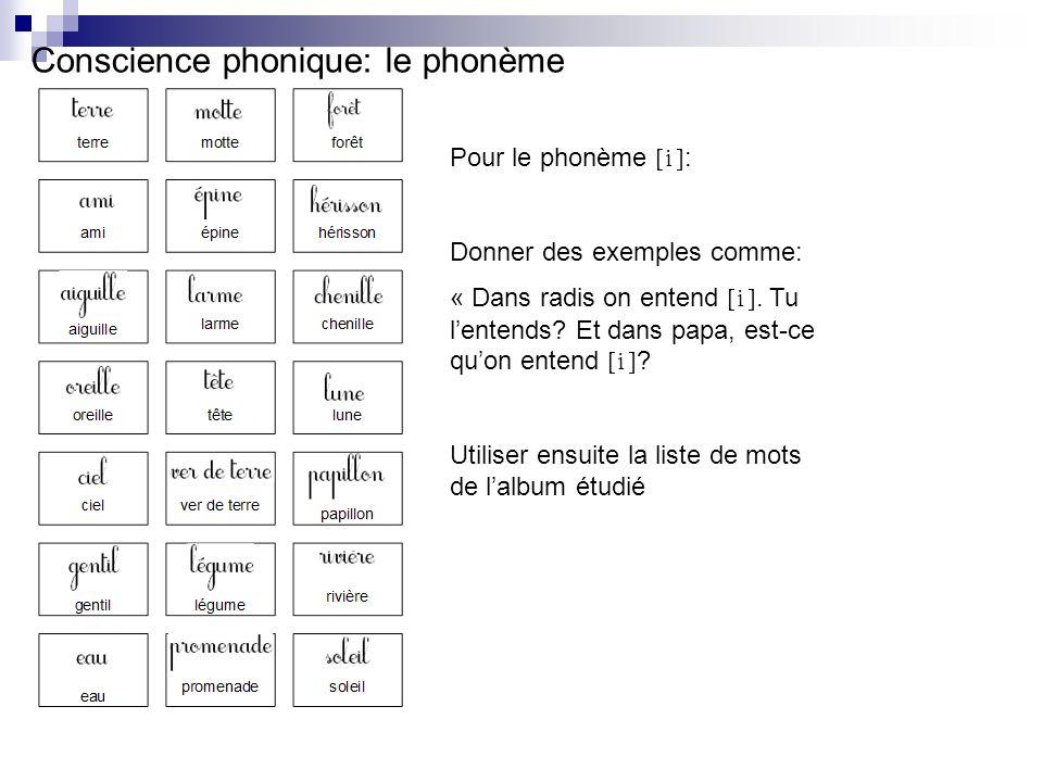 Conscience phonique: le phonème Pour le phonème [i] : Donner des exemples comme: « Dans radis on entend [i]. Tu lentends? Et dans papa, est-ce quon en